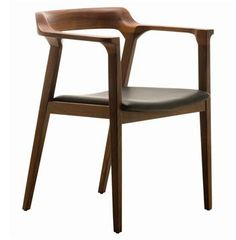 Katelyn Mid Century Modern Brown Walnut Leather Dining Arm Chair