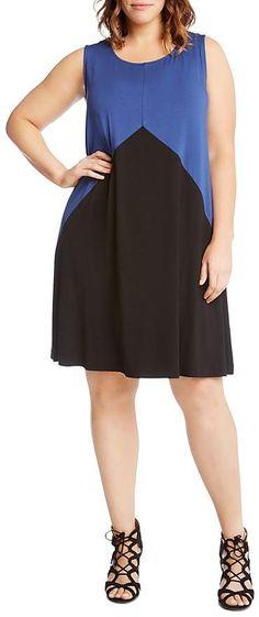 Karen Kane Plus Color-Block Shift Dress