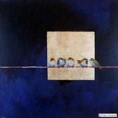 Five through the Window. Ellen Granter Birds Painting, Gold Leaf Art, Art Painting, Abstract Painting, Painting, Oil Painting, Art Inspiration, Handmade Wall Art, Bird Art