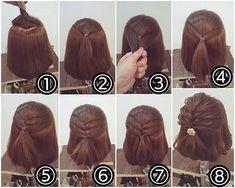 At home hairstyles for short hair … – Tutorial Per Capelli Hairdos For Short Hair, Girl Hairstyles, Wedding Hairstyles, Teenage Hairstyles, Modern Hairstyles, Short Hairdos For Wedding, Braided Hairstyles For Short Hair, Cute Short Hair, Short Hair Updo Easy