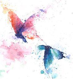 BUTTERFLY ART watercolor butterflies butterfly by SignedSweet