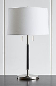 Chic Floor Lamps to Brighten Your Home Outside Furniture, Home Furniture, Black Table Lamps, Types Of Furniture, Design Services, Crate And Barrel, Brushed Nickel, Bedside, Pebbled Leather