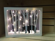 black bear lighted shadow box home by LotsOfLoveCraftingblack bear 8 x 10 lit up shadow box, decoration, night light, light - Learn and teach youShop for shadow box on Etsy, the place to express your creativity through the buying and selling of handmade a Rustic Christmas, Christmas Crafts, Christmas Decorations, Wood Crafts, Fun Crafts, Shadow Box Kunst, Cadre Diy, Christmas Shadow Boxes, Diy Shadow Box
