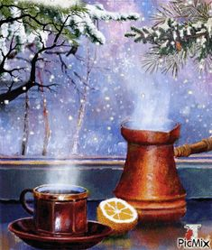 Good morning it's coffee time ~. Xmas Gif, Cute Couple Drawings, Gif Collection, Good Morning Gif, Through The Window, Photomontage, Nature Pictures, Cute Couples, Still Life