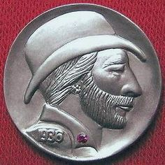 DAVE BOULAY HOBO NICKEL - GEM INLAY* - 1936 BUFFALO PROFILE Hobo Nickel, Buffalo, Folk Art, Classic Style, Gem, Coins, Carving, Profile, Artist