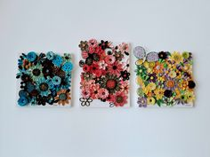 Three peaces of quilling collage with different colours. Paper Quilling, Floral Tie, Different Colors, Collage, Wall Decor, Colours, Handmade, Peace, Ideas