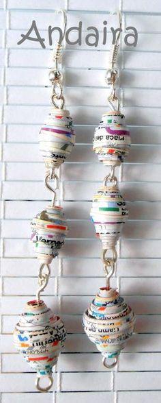 Andairadas: Pendientes hechos de bolas de papel