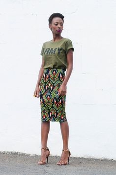 MASH UP outfit : tribal pencil Mr Price skirt - army Mr Price t-shirt