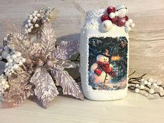 Christmas candlestick Handmade Home Decor, Home Decor Items, Christmas Stockings, Christmas Ornaments, Candlesticks, Snow Globes, Traditional, Holiday Decor, Color