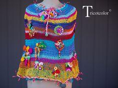 """Poncho femme tricoté à la main en coton """" Estival festif """" : Echarpe, foulard, cravate par tricotcolor"""