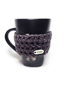 "BOGO Crochet Coffee Cozy Sleeve w/Metal ""XOXO"" Accent & Button - Slate Gray or Color of Choice. $15.00, via Etsy."