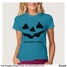 Teal Pumpkin Project Food Allergy Halloween Shirt- buying this so I can wear it next year to support my son and this awesome amazing pumpkin food allergy project! Pumpkin Halloween Costume, Halloween Cosplay, Halloween Shirt, Halloween Pumpkins, Halloween Costumes, Disney Halloween, Halloween Crafts, Halloween Ideas, Modest Outfits
