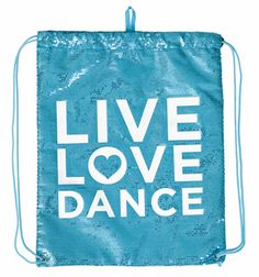 "Sequin ""Live Love Dance"" Cinch Bag   DiscountDance.com"