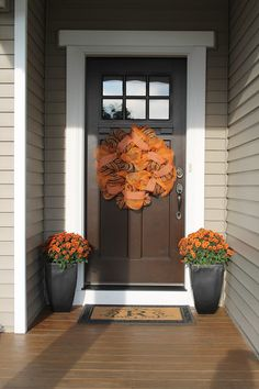 Fall Front Door Deco Mesh Mums