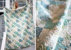 The-Spring-Lake-Quilt- by Tilda. Love the chain design that emerges, and her blue and green fabrics.