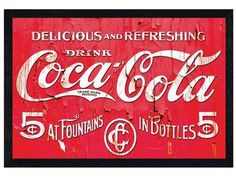 Black Wooden Framed Delicious & Refreshing - Coca Cola http://www.popartuk.com/food-and-drink/black-wooden-framed-delicious-refreshing-53822-241019x-framed-poster.asp #Drink #CocaCola