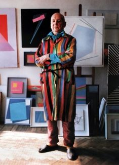 Henryk Stażewski in the studio at 64 Solidarności Avenue, photograph from the poster for an exhibition at Centro Atlántico de Arte Modeno, Las Palmas de Gram Canaria, photo: unknown/courtesy of Muzeum Sztuki Nowoczesnej in Warsaw Piet Mondrian, Tomie Ohtake, Artists And Models, Action Painting, Exhibition Poster, Museum Of Modern Art, Art Studios, Sculpture Art, Decoration