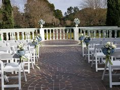 Gardenside wedding ceremony (Flowers by Lee Forrest Design,  photo by: staff)