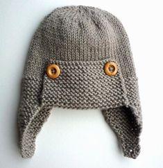 Ravelry: Regan - Aviator hat pattern by Julie Taylor Baby Hats Knitting, Knitting For Kids, Baby Knitting Patterns, Baby Patterns, Knitting Projects, Knitted Hats, Simple Knitting, Crochet Patterns, Stitch Patterns