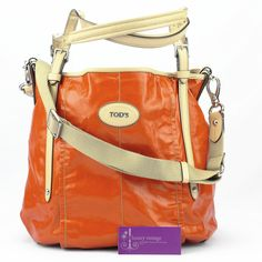 TOD's G-line Medium Shopping Bag Orange Coated Canvas With Leather Good Condition Ref.code-(GTTY-3)