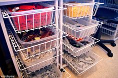 Pull out wire baskets http://www.drawerslides.com/closet-organizers/pullout-wire-baskets/?category_id=2127_SIZE=4_INDEX=0_CATEGORY_ID=2127_SUB_CATEGORIES=Y_FILTER=true