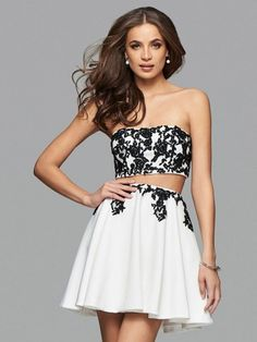 Strapless Two Piece Black Lace A-line Chiffon Homecoming Dress