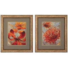 Rust & Red - Pair -  Shades of oranges, grays, and dusky greens create the fashion palette of these prints. Titled Rust and Red, the lifelike renditions of these floral paintings are perfect for a traditional setting. Set of two.