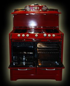 Red antique stove - fully restored antique stove for sale