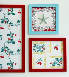 Great use for stained vintage table cloths. Cut out an unstained peice to fit a frame.