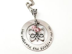 She believed she could so she did Personalized Hand Stamped Irish Celtic Butterfly Birthstone Keepsake Necklace
