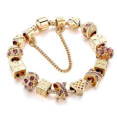 Pandora Jewelry OFF!> Heart Charming Bracelets Like The Art of Pandora Jewelry Making Gold Chain Bead Bracelets Pandora Bracelets, Pandora Jewelry, Pandora Charms, Bangle Bracelets, Crystal Bracelets, Crystal Beads, Crystals, Gold Plated Bracelets, Gold Bangles