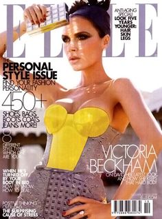 Victoria Beckham in Elle october 2009. The yellow and grey combination is fabulous and the reflection of the Judith Leiber clutch on her face is a touch of genius! Love everything about the cover!