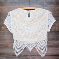 lace it up crop top - ivory