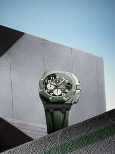 Your summer essential. The smoked green « Mega Tapisserie » and Arabic numerals on the Royal Oak Offshore Selfwinding Chronograph are designed to make an impact. Ref. 26405CE.OO.A056CA.01 Royal Oak Offshore, Audemars Piguet Royal Oak, The Smoke, Summer Essentials, Chronograph, Green, Design, Tapestry