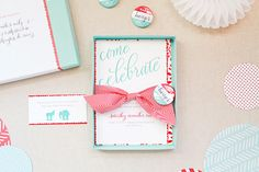 Inside the box - that's it! Source: Oh So Beautiful Paper: Maggie + Trevor's Campaign-Inspired Baby Shower: The Invitations!