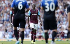 Aug. 22nd. 2015: Angelo Ogbonna (centre) looks dejected as he is taken off by manager Slaven Bilic after 35 minutes for West Ham, with James Tomkins replacing him, as the Hammers' defence is run ragged by Bournemouth