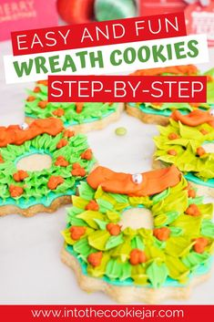 Enjoy this Christmas wreath cookie tutorial, including how to make Christmas wreath cookies, how to decorate Christmas wreath cookies, and how to make royal icing for these holiday cookies. These are some of the most festive decorated cookies ever, and an awesome recipe for decorated Christmas wreath cookies. Christmas Wreath Cookies, Christmas Cupcakes, Christmas Sweets, Holiday Cookies, Christmas Wreaths, Desserts Around The World, Gooey Chocolate Chip Cookies, Awesome Recipe, Tea Time Snacks