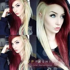 Color Idea & Hairstyle Woman Description I do like that Madame. Bright Red Hair, Brown Hair Colors, Piercing Tattoo, Piercings, Half And Half Hair, Split Dyed Hair, Multicolored Hair, Edgy Hair, Trendy Hair