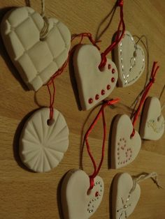 I'm pretty pleased with how nicely these little heart ornaments from baking soda clay turned out.  I posted the recipe for Baking Soda Cl...