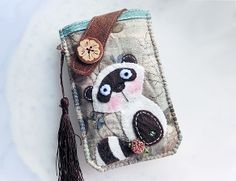 Winter Raccoon Mobile Phone Pouch-Samsung-HTC-LG from Lily's Handmade - Desire 2 Handmade Gifts, Bags, Charms, Pouches, Cases, Purses by DaWanda.com