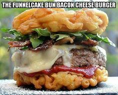 Funnel cake BACON cheese burger! #food #bacon #vintage #vogueteam #voguet #share