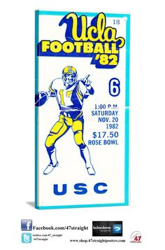 Father's Day Gift Ideas on Pinterest. 1982 USC vs. UCLA. The Bruins stopped the Trojans on the last play of the game. UCLA 20 USC 19. UCLA Bruins gifts. UCLA Bruins Father's Day Gifts. UCLA Bruins art. 47 STRAIGHT.™ #47straight college football gifts. college football art.