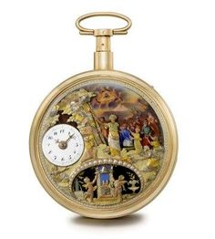 Charles Ducommun. An extremely fine, rare and important 18K gold and enamel openface quarter repeating watch with varicoloured gold automaton depicting Moses hitting the rock SIGNED CH. DUCOMMUN DIT BOUDRIT, , CIRCA 1820
