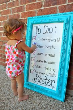 Cute pregnancy announcement for baby number 2 Cute Pregnancy Announcement, Birth Announcements, Pregnancy Info, Baby Number 2 Announcement, Big Sister Announcement, Sibling Pregnancy Reveal, Pregnancy Picture Ideas, Birthday Baby Announcement, Funny Pregnancy