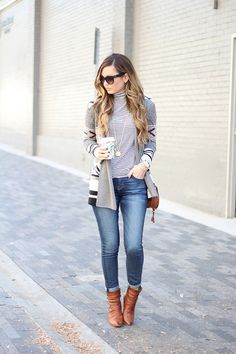 Cardigan, jeans, and booties