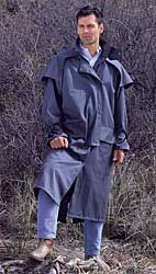 Folkwear Pattern #137 - Australian Drovers Coat.  Incredible details: rain over-cape; full wide-placket insert in back that buttons for a smooth line; cuff strap closures; interior lining and pockets...awesome! The ultimate foul weather coat!