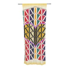 """Famenxt """"Heart in Abstract Pattern"""" Geometric Abstract Decorative Sheer Curtain"""