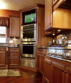 Love the TV in the kitchen. Perfect for cooking a Sunday, after-church meal and watching the big game!