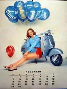 1960 Vespa calendar in italian (feb) Piaggio Vespa, Lambretta Scooter, Vespa Scooters, Vespa Girl, Scooter Girl, Scooter Shop, Calendar Girls, Calendar Pages, Sexy Pin Up Girls