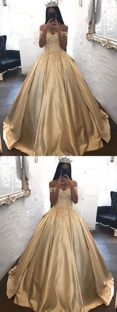 Ball Gown Prom Dress, Ball Gown Prom Dresses Off-the-shoulder Appliques Satin Prom Dress Evening Dress Shop Short, long ball gowns, Prom ballroom dresses & ball skirts Pretty ball gowns, puffy formal ball dresses & gown Gold Prom Dresses, Prom Dresses 2018, Ball Gowns Prom, Tulle Prom Dress, 15 Dresses, Ball Dresses, Evening Dresses, Gold Quinceanera Dresses, Sweet 16 Dresses Gold